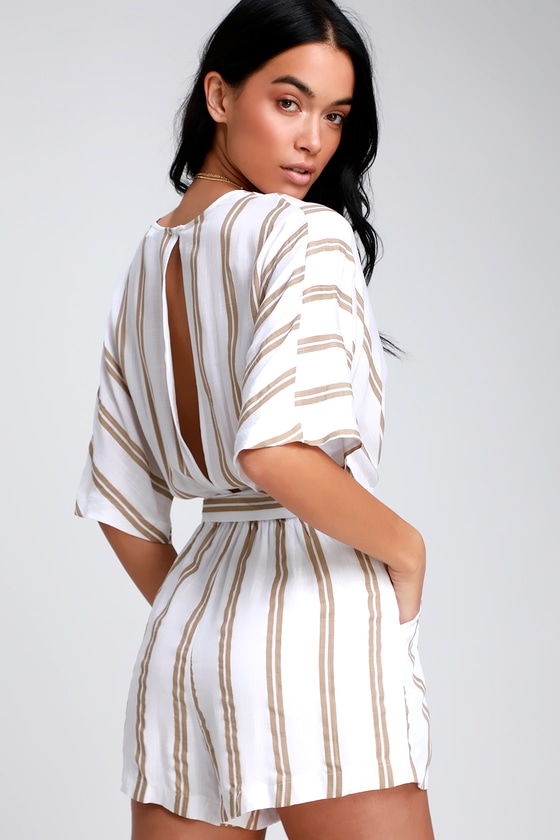 e96f4737491 Lulus | Seaside Tide Taupe and White Striped Surplice Romper | Size X-Small  | 100% Rayon