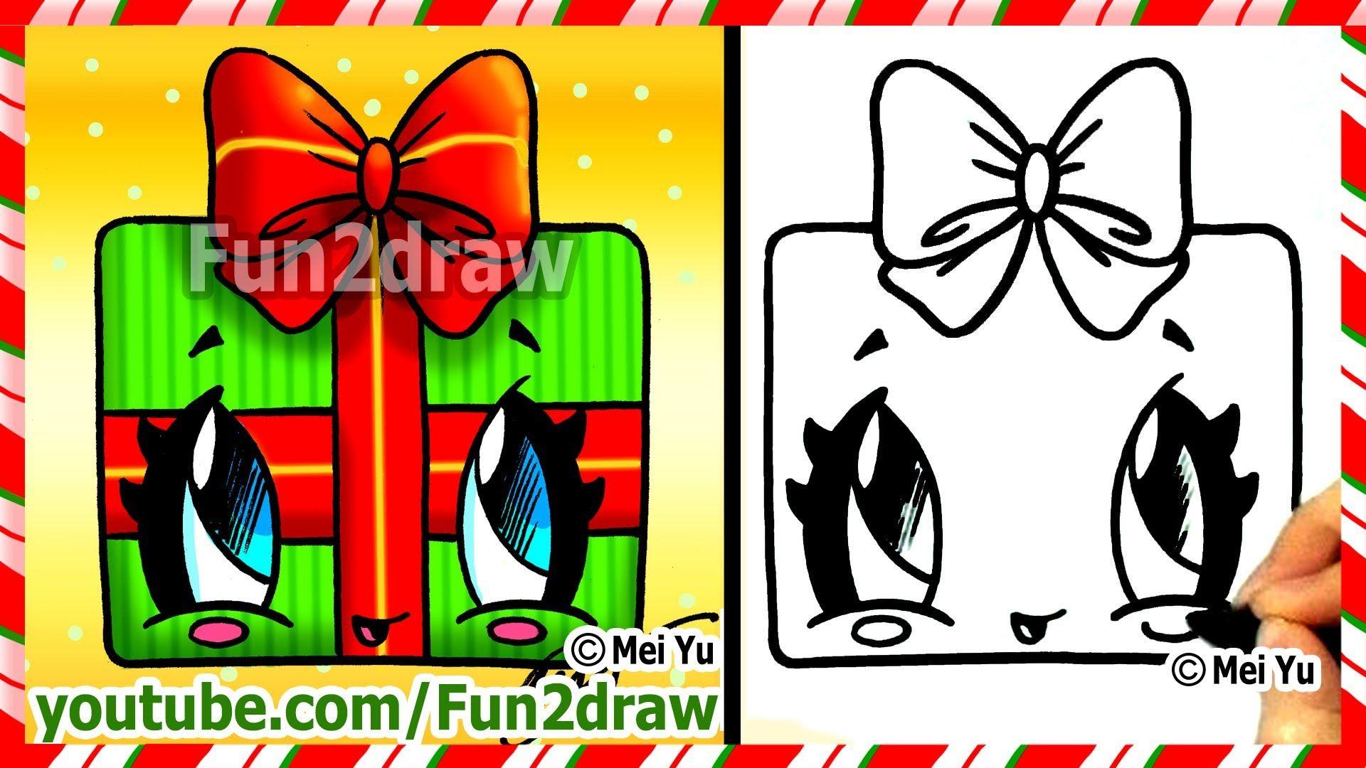 How to Draw Christmas Presents Kawaii Gift with Bow