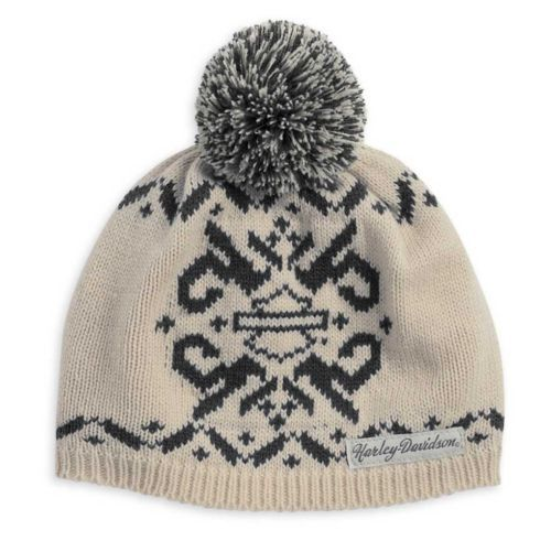 Women's Knit Cap, Fair Isle Pom Beanie Hat | Live To Ride, Ride To ...