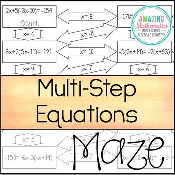 Solving Multi Step Equations Maze Saxon Pinterest Equation