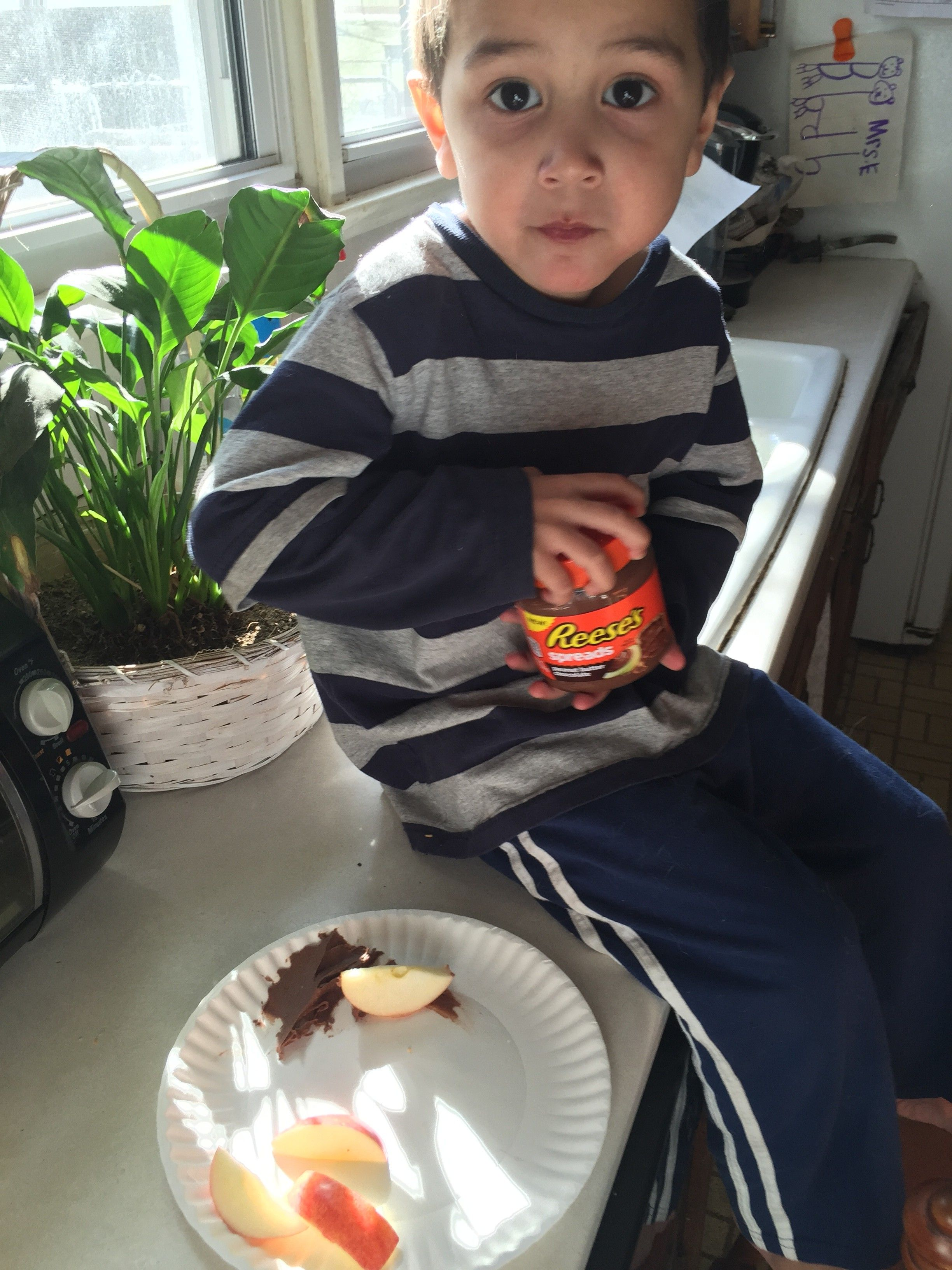 My 4 year old and our apples and spread #ReesesSpreads and #Contest