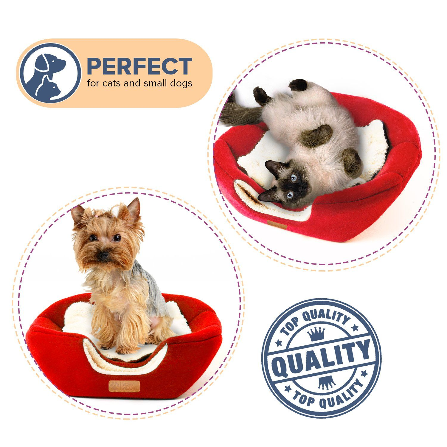 Bow Meow PREMIUM Pet Bed/Cave Cat Bed and Cave Small Dog