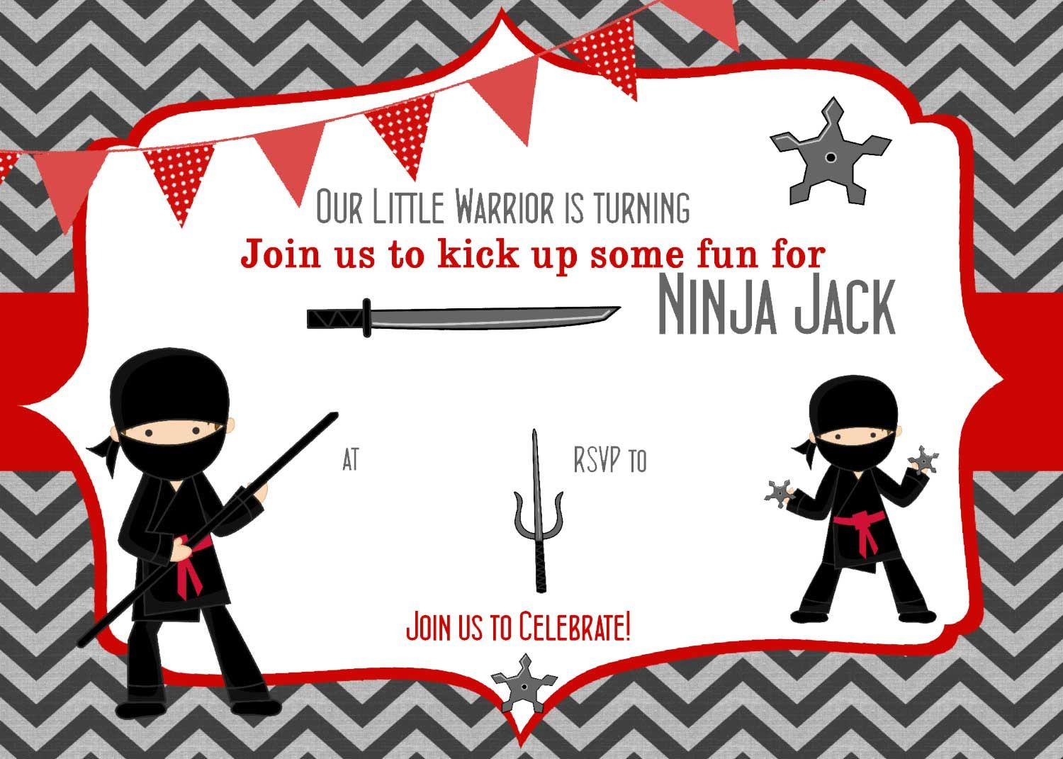 FREE Printable ninja birthday invitations template for Aurel