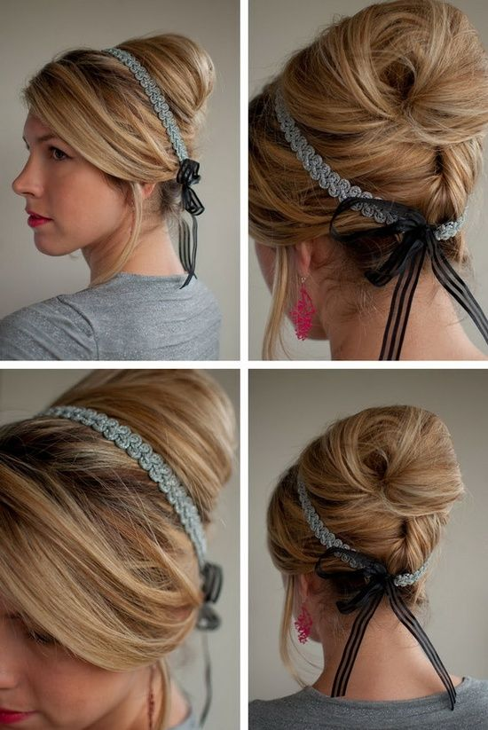 Ribbon Headband Hairstyle Jpg 550 823 Haarband Frisur Hochsteckfrisuren Haarband Frisuren