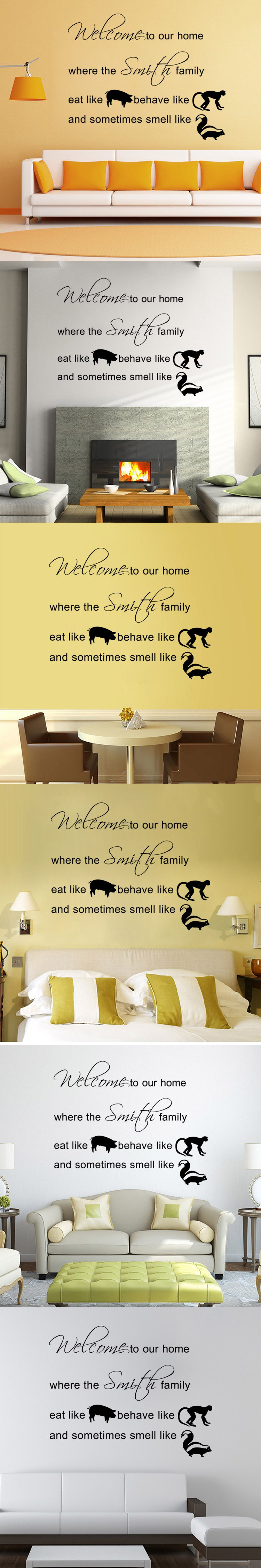 aw9375 Warm Family Quote and Cute Animals DIY Removable Art Vinyl ...
