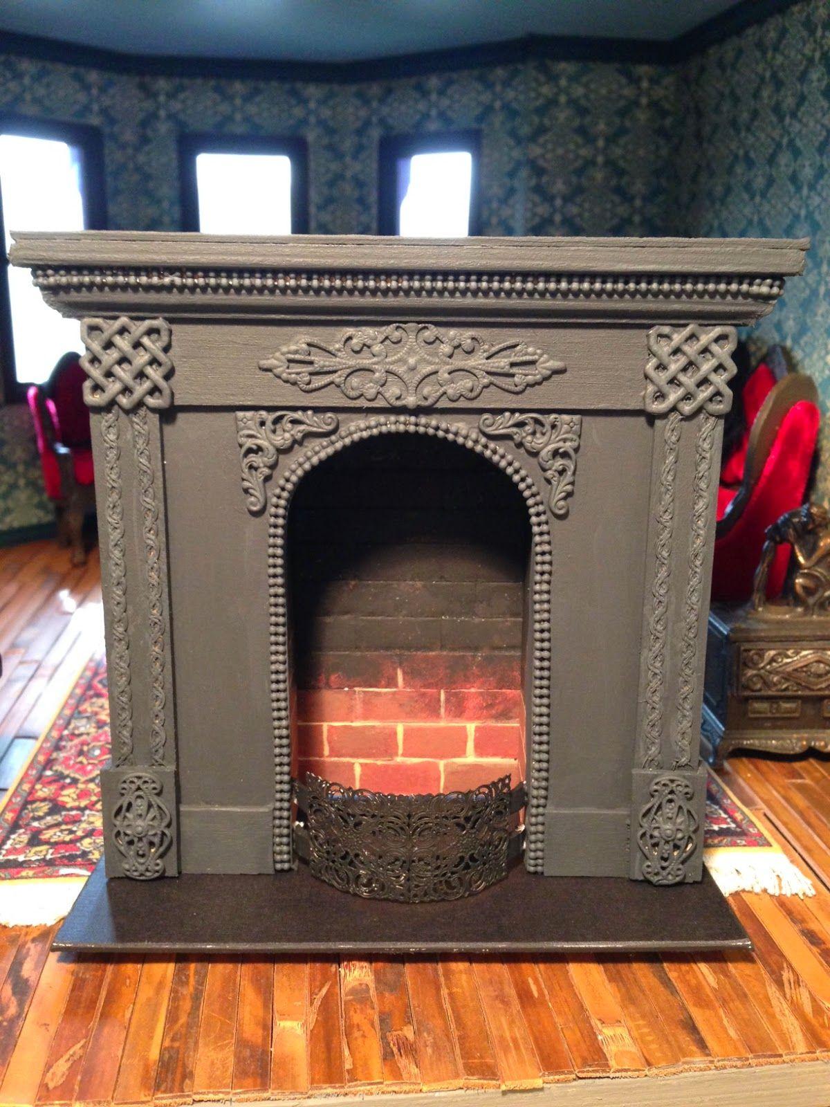 Victorian fireplace dollhousefairfield kit pinterest