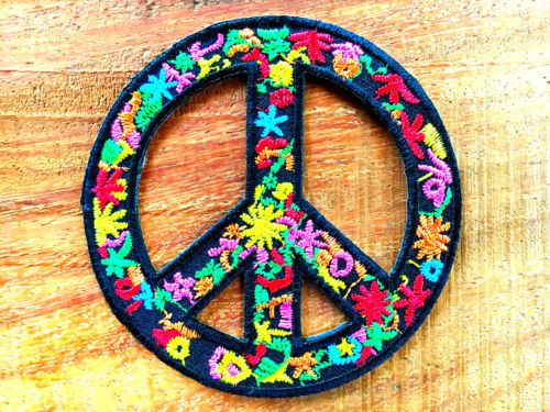 Peace Badge Hippy Embroidered Applique Love Peace Symbol Sign Iron On Patch
