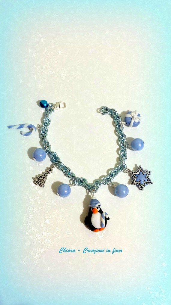 Winter penguin bracelet with charms in polymer clay, secret santa gift for BFF, stocking filler for a whimsical santa gift for girl #secretsantaideasforwork
