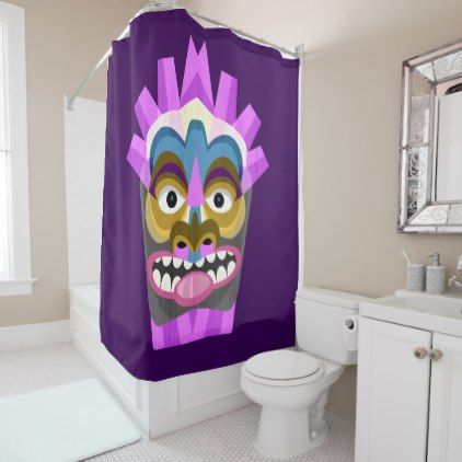 Tribal Tiki Hawaiian Luau Shower Curtain Bathroom Accessories Home Living