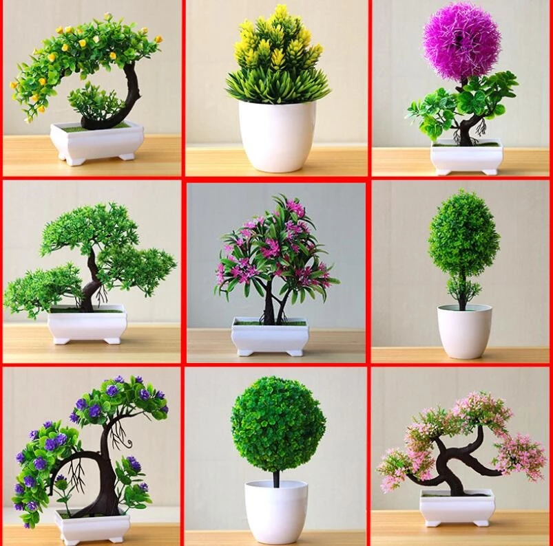 Artificial Plants Bonsai Small Tree Pot Plants Small Flower Pots Flower Pots Fake Flowers