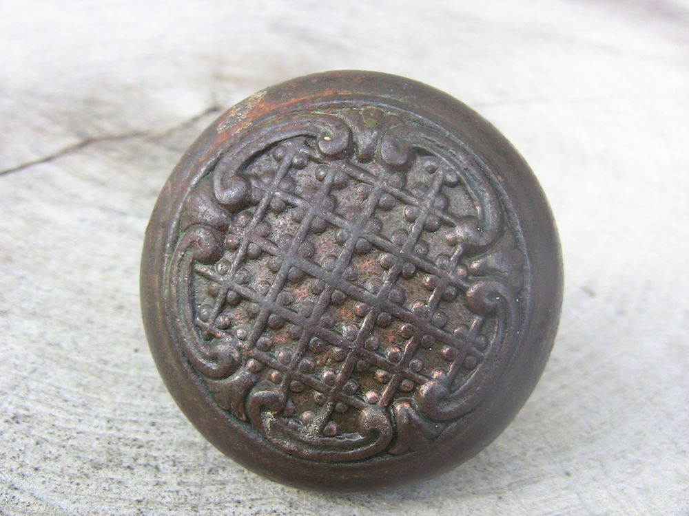 Antique Cast Iron Door Knob Ornate Lattice Scrollwork Design Eastlake Era  1800s