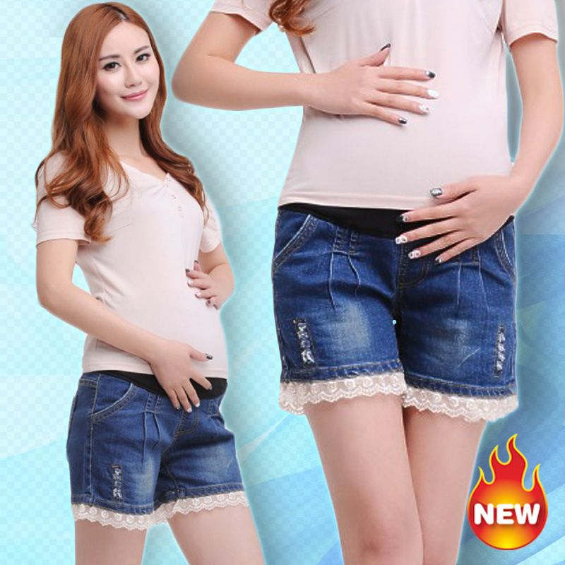 68daa34ca6a44 New Maternity Short Pants 2015 Summer Fashion Worn Lace Style Denim Shorts  Pregnant Women Shorts Prop Belly Pants