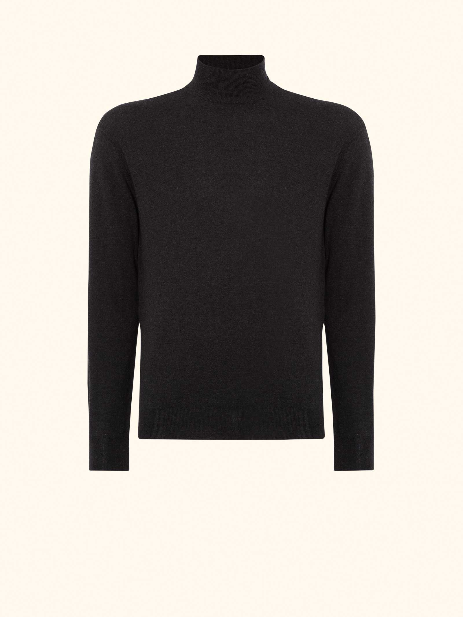 860e7eb17d1e85 Mock Turtle Neck (as seen in the SPECTRE poster) in Dark Charcoal Grey -  N.PEAL Luxury Cashmere