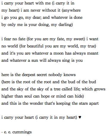 I Carry Your Heart Eecummings Favorite Poem Ever