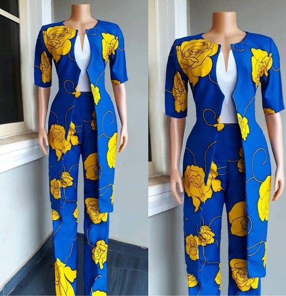 Ankara Pant Set/ Ankara Jacket/ Ankara Kimono Jacket/ Ankara Pants/ African Wear