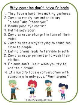 Don\'t Be a Zombie: Pragmatic/Nonverbal Language Skills | Autism ...