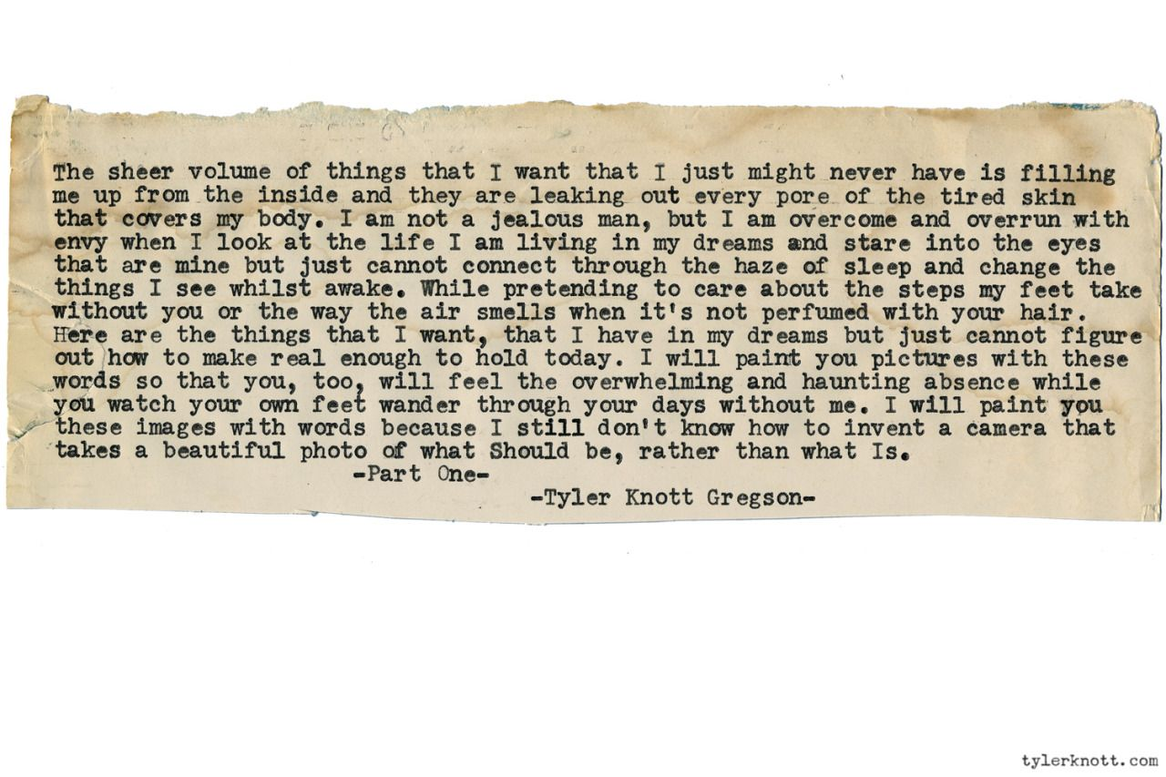 Typewriter Series 1301 By Tyler Knott Gregson Book Two Is Out