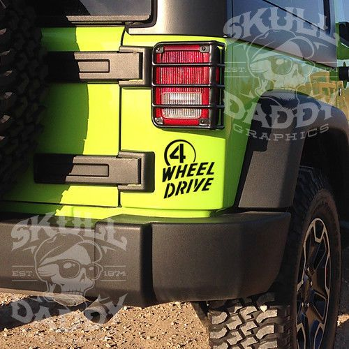 4 Wheel Drive Willys Jeep Sticker For Wrangler Cherokee Jk Tj Yj