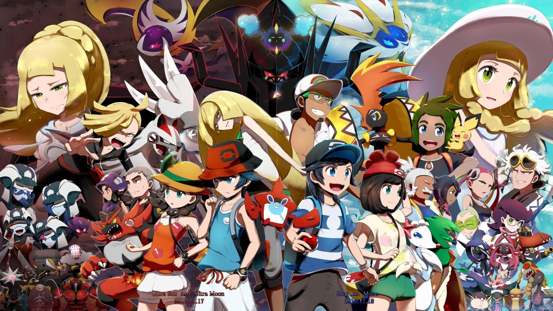 Pokemon Pokemon Ultra Sun And Ultra Moon Boy Girl 1080p Wallpaper Hdwallpaper Desktop Pokemon Moon Pokemon Pokemon Alola