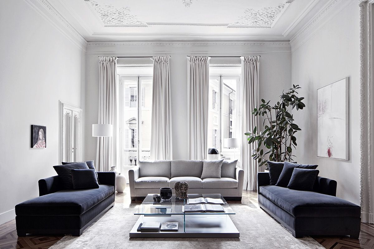 Blue & grey living room / white mounding walls Sfeertje... MPM ...