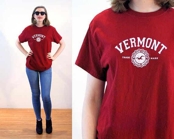 d49d226f8a989 90s Vermont T-Shirt M, Retro Maroon Red Cotton Green Mountain State ...