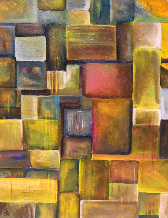 Original Abstract Geometric Acrylic Painting by CNCacrylics