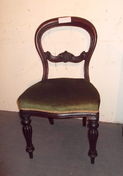 Set Six Victorian Balloon Chairs   Set 6 Early Victorian Mahogany Balloon  Back Dining Chairs With