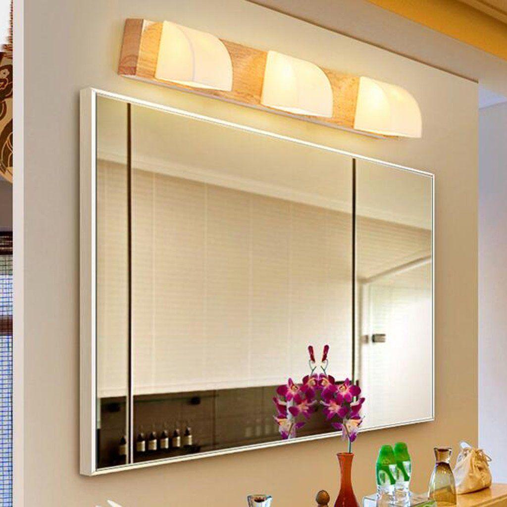 Spiegel Vorne Licht Holz Waschraum Lampe Massivholz Einfache Spiegel Lampe Led Wandleuchte Amazon De Beleuchtung Wandleuchte Waschraum Led Lampe