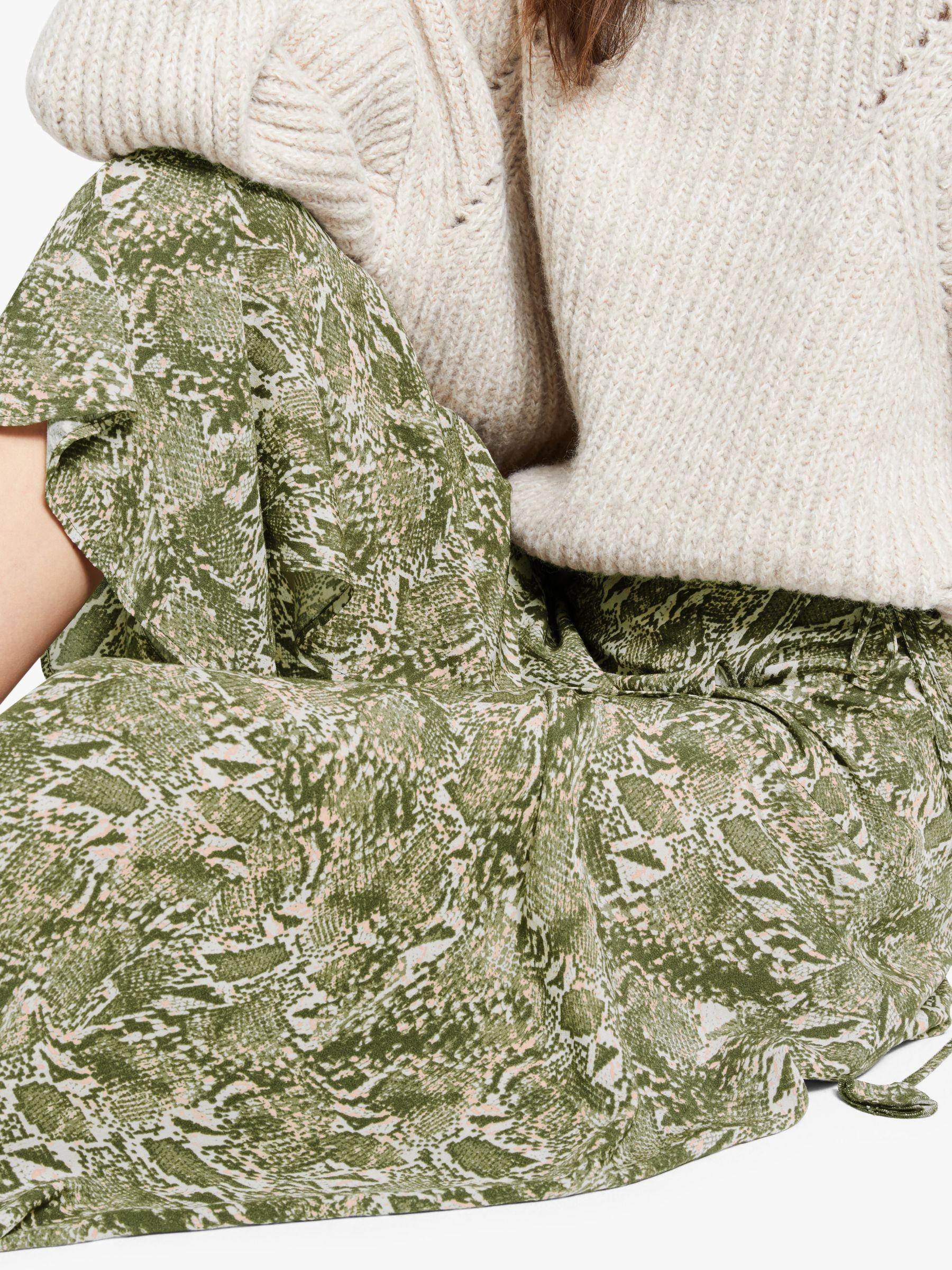AND/OR Sasha Snake Print Skirt, Green #snakeprints