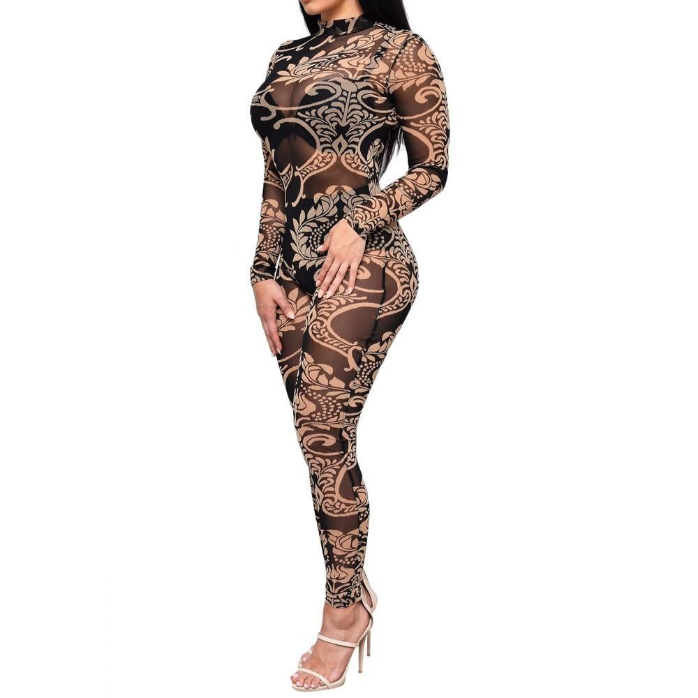 a97f58d76308 Nicki Minaj Sexy Vintage Bodycon Jumpsuit Patchwork Bodysuit for Women  Party Romper Chain Print Prom Playsuit Club Jumpsuits