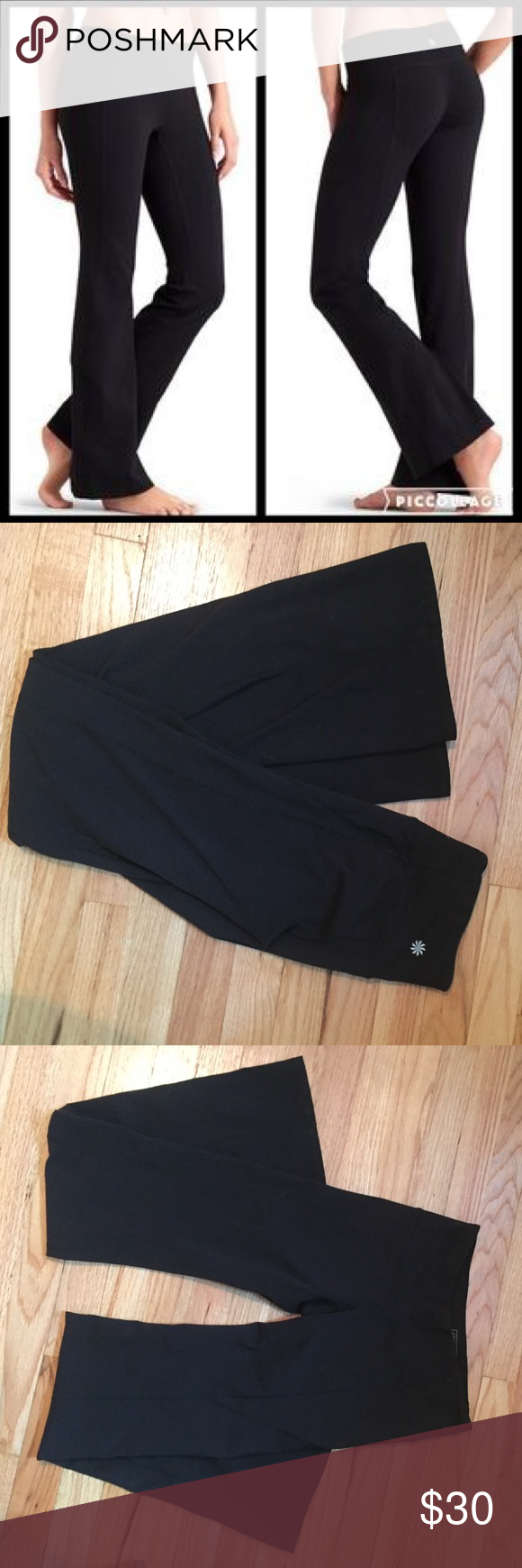 Athleta Revelation Pant Power Performance-fitted, Mid-rise, Flare leg Sits two fingers below the navel, sits next to skin then opens up below the knee. Inseam 32.5 inches, size small. INSPIRED FOR: yoga, studio workoutsUltra-comfortable wide waistband, internal key pocket, Flatlock stitching minimizes chafe,  Breathable CoolMax® crotch gusset Athleta Pants