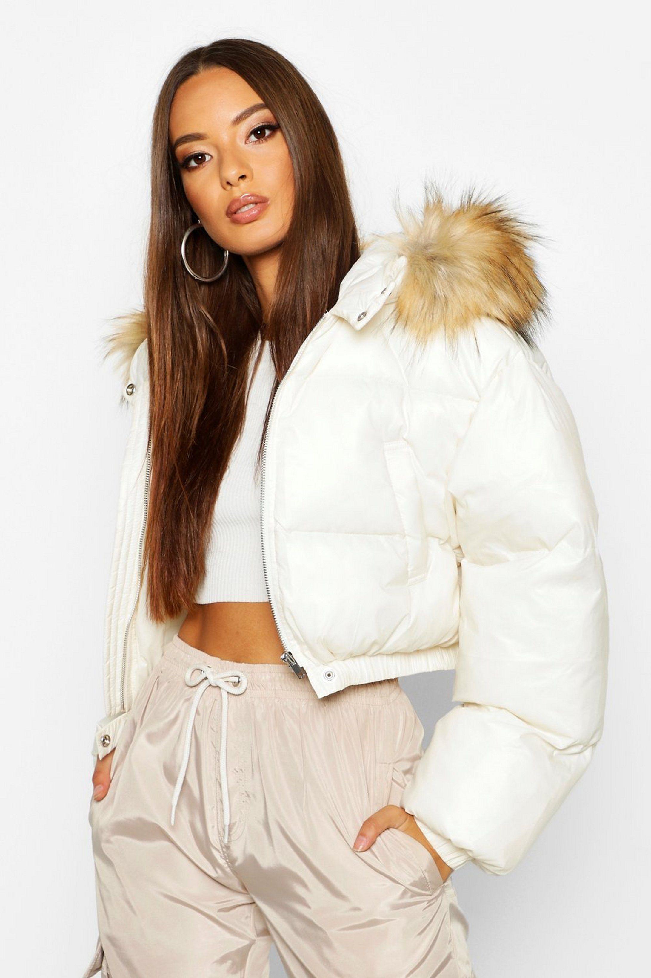 Cire Crop Faux Fur Hood Puffer Jacket Boohoo Puffer Jacket Outfit Fur Hood Jacket Puffer Jacket Women [ 3272 x 2181 Pixel ]