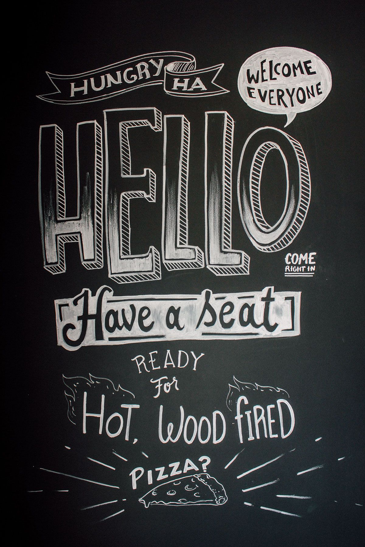 a series of chalk wall murals for tj s woodfire pizza restaurant in