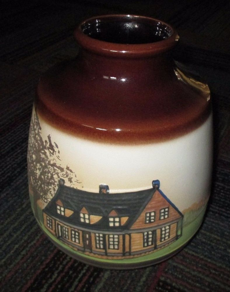 BEAUCEWARE QUEBEC CANADA POTTERY VASE W/ RAISED PAINTED HOME & TREE A. JACQUE
