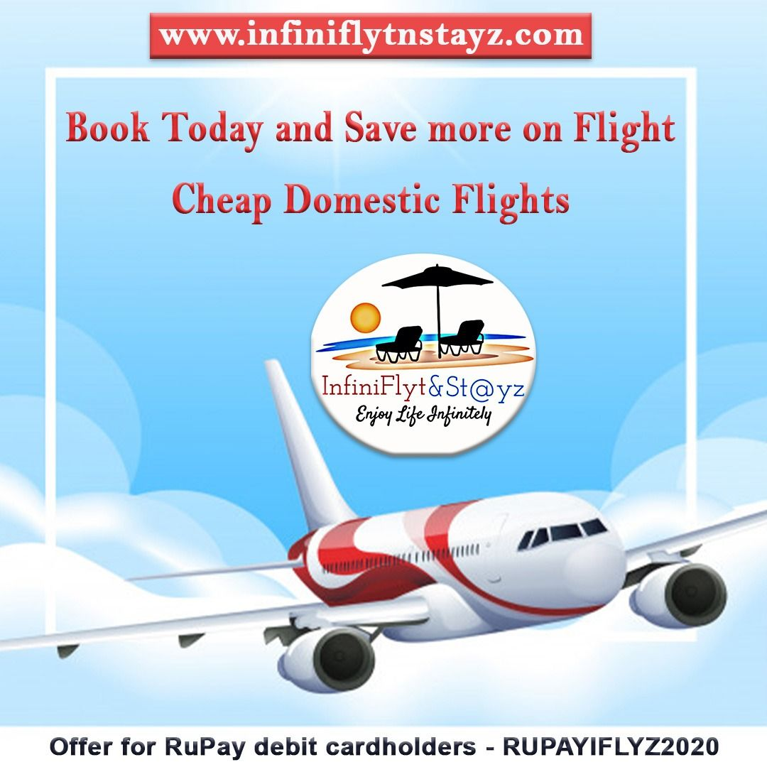 Guaranteed low prices on Flight tickets. Promotional offer for RuPay debit cardholders - RUPAYIFLYZ2020 🌍✈️ Hurry up! Book Now.  #cheapflighttickets #lowairfare #cheapestflights #lowairfare #domesticflights #infiniflytnstayz #mumbai #delhi #cheapflightbooking #flights #flightbooking #traveldeals #familytravel