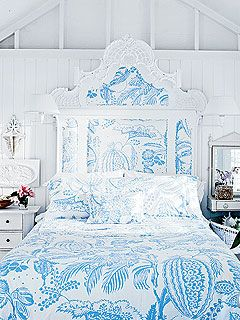 Love this bed! The  Manuel Canovas fabric has always ben one of my favorites, and I love the way he painted the old bed. In an adorable bungalow in Key West...perfect spot for this! Love!