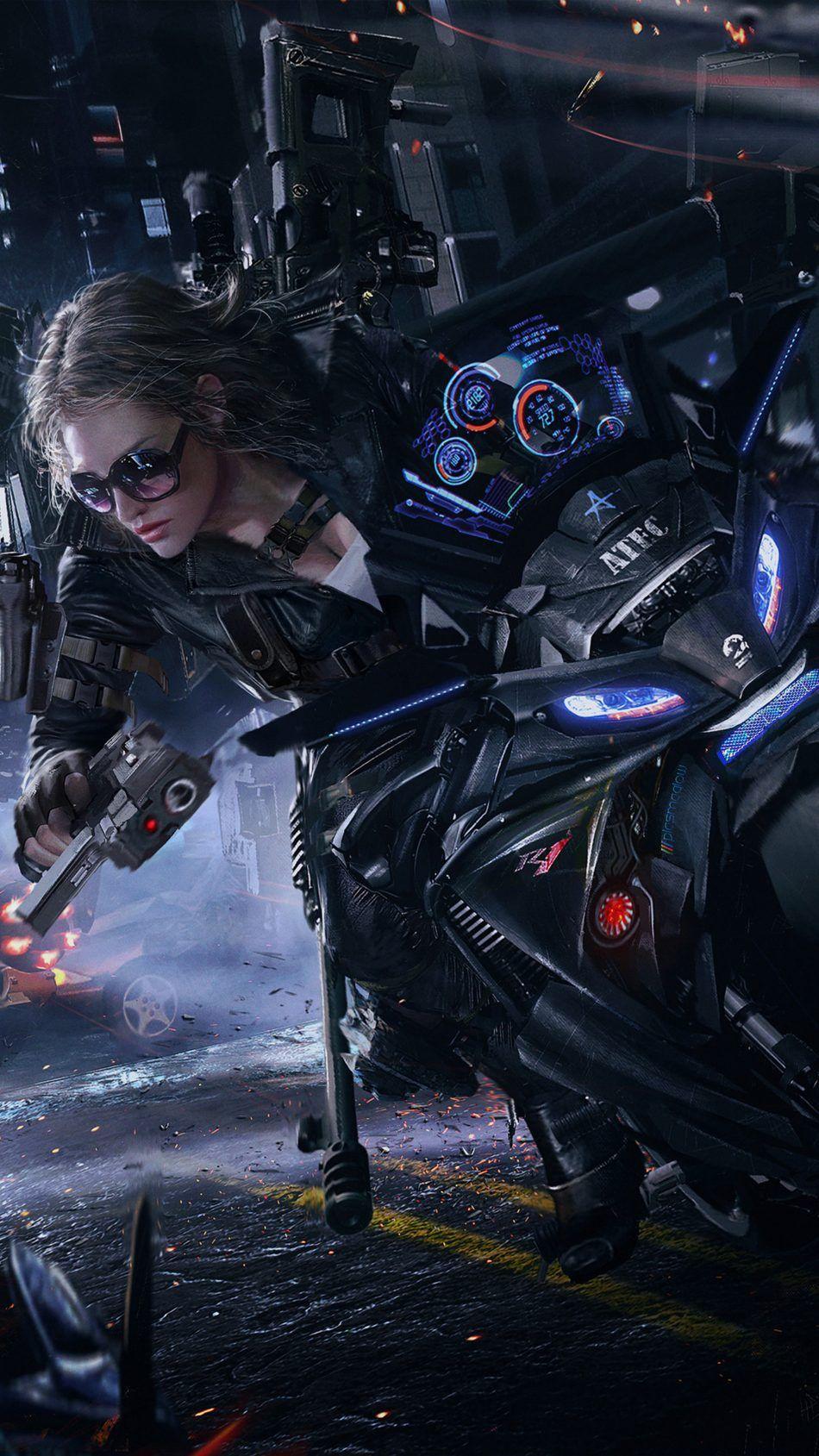 Crossfire Game Girl Bike Cyberpunk Girl Cyberpunk Art