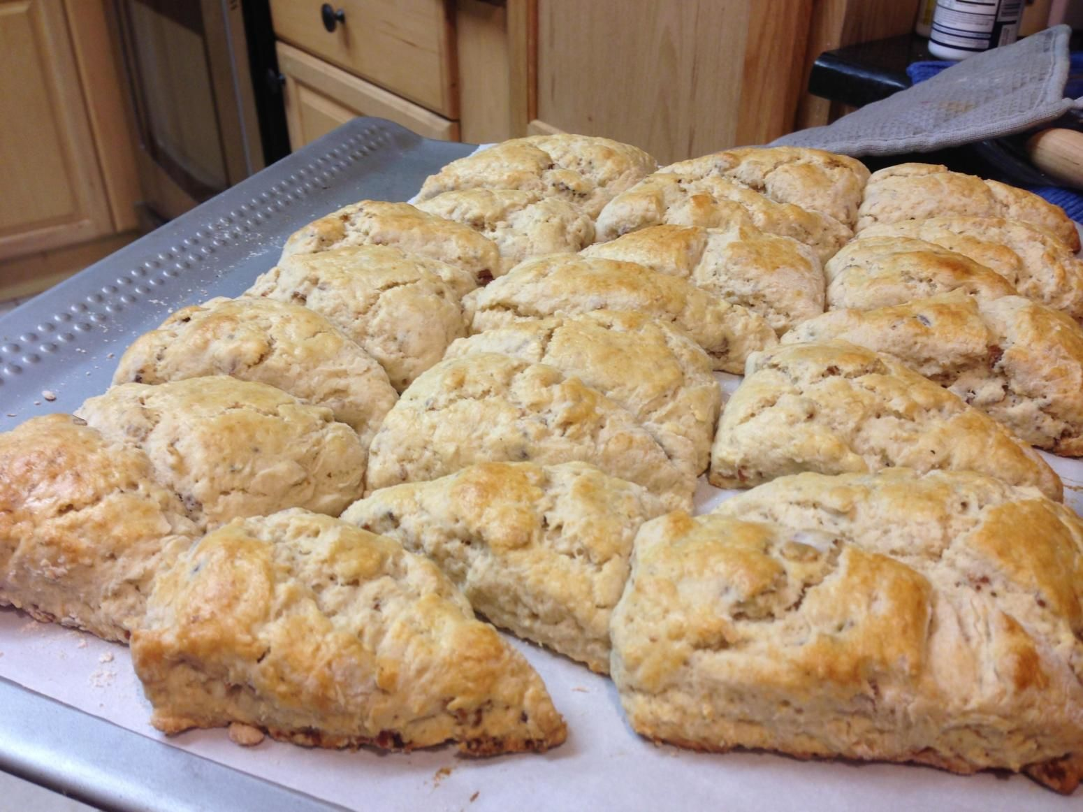 "Bacon & Brew Scones ""This is a traditional scone but with a lot more flavor with smokey bacon, sharp cheddar, rich stout, and sour cream. """