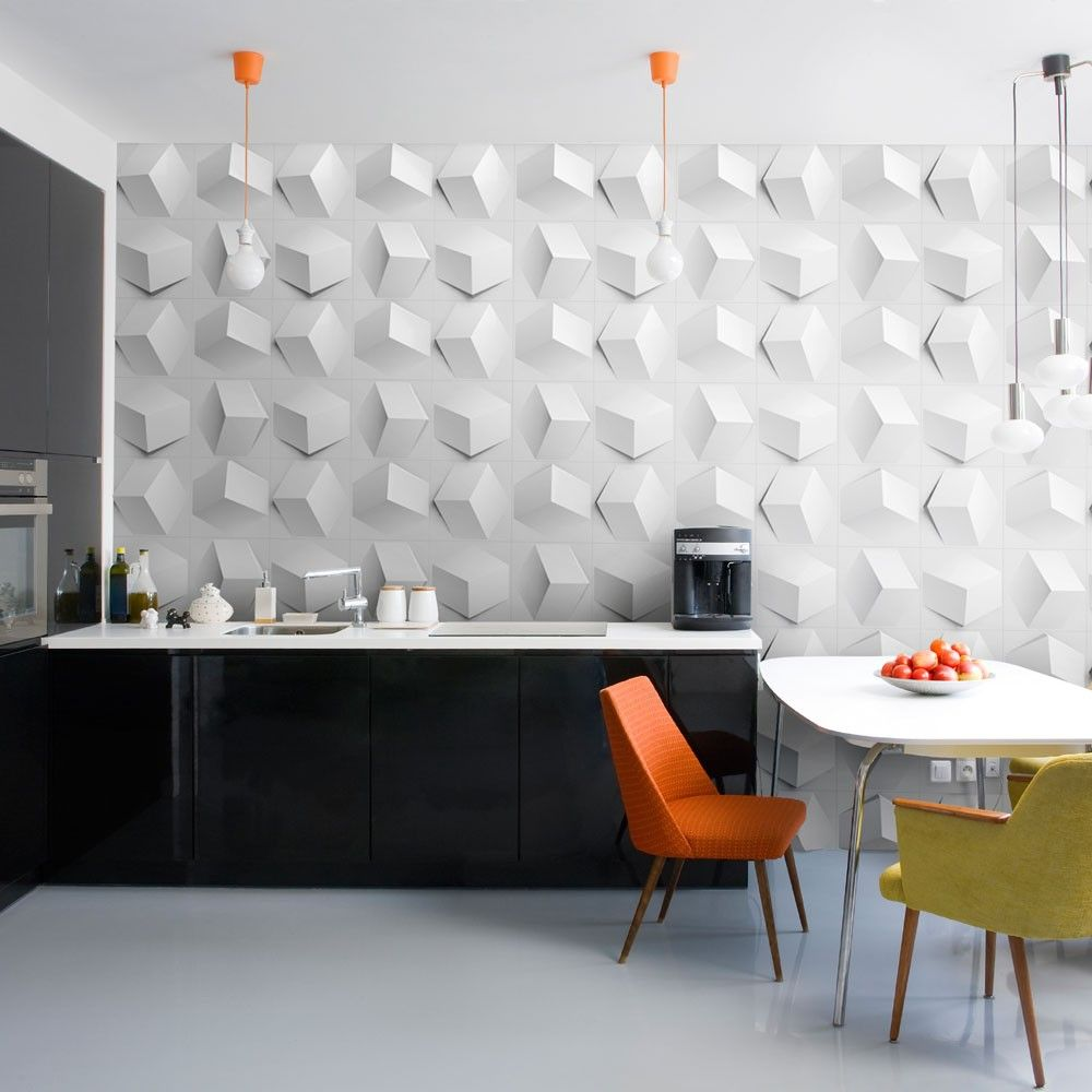 Cube White Create Textured Wall Panels Wallpaper And Tiles Modern Kitchen Design