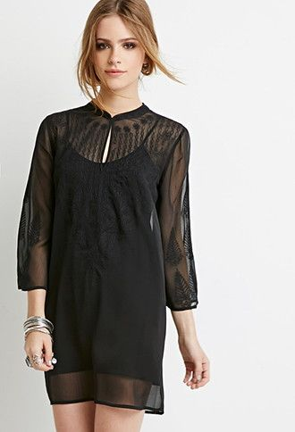 Embroidered Chiffon Peasant Tunic | Forever 21 - 2000076976