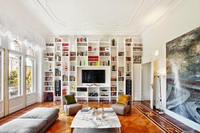floor to ceiling bookshelves: wall bookshelves extend to ceiling