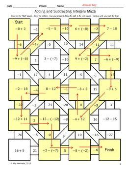 Free Adding And Subtracting Integers Middle School Math Maze Matematik Oyunlari Ortaokul Matematik