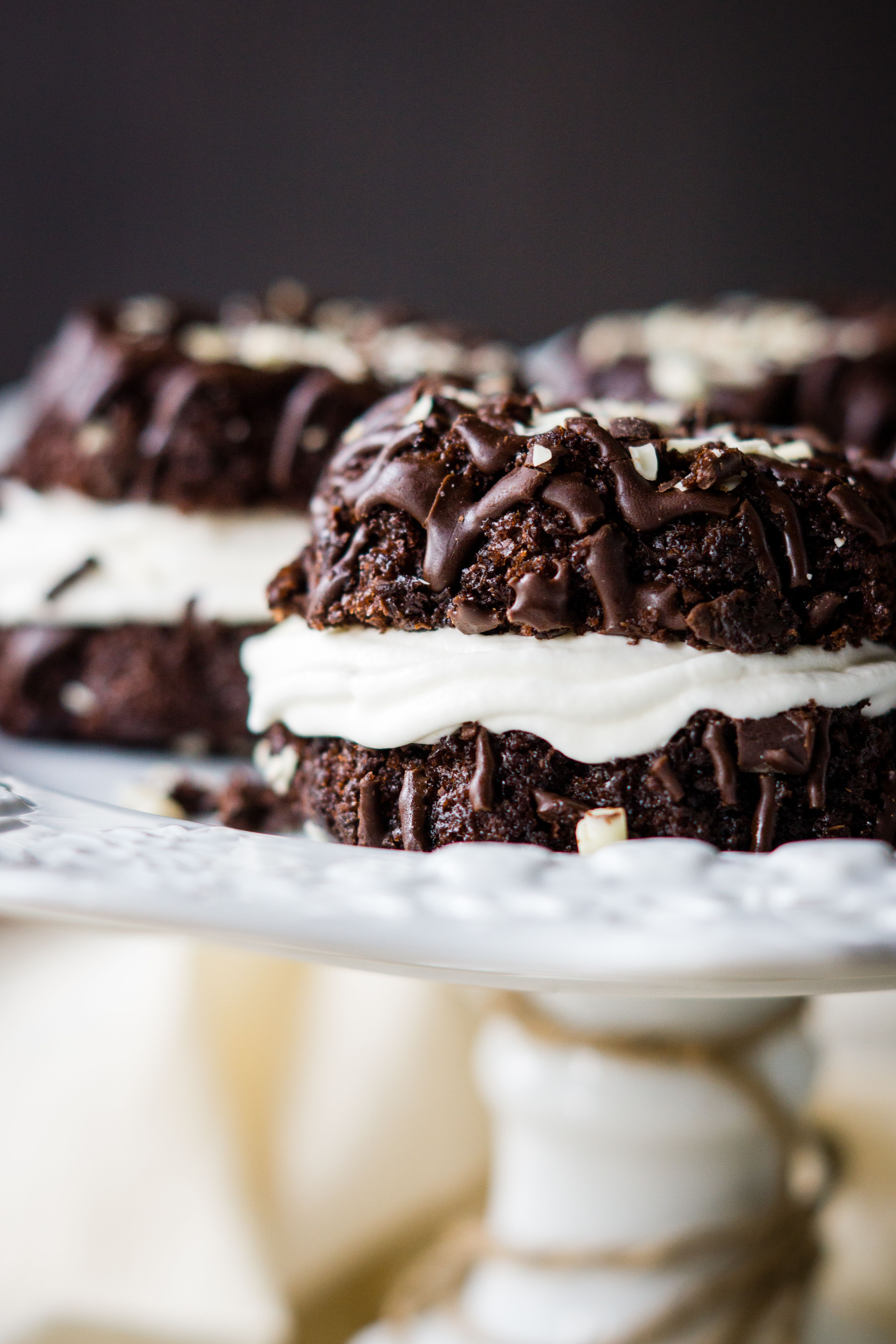 Chocolate bundt cakes with marshmallow fluff buttercream