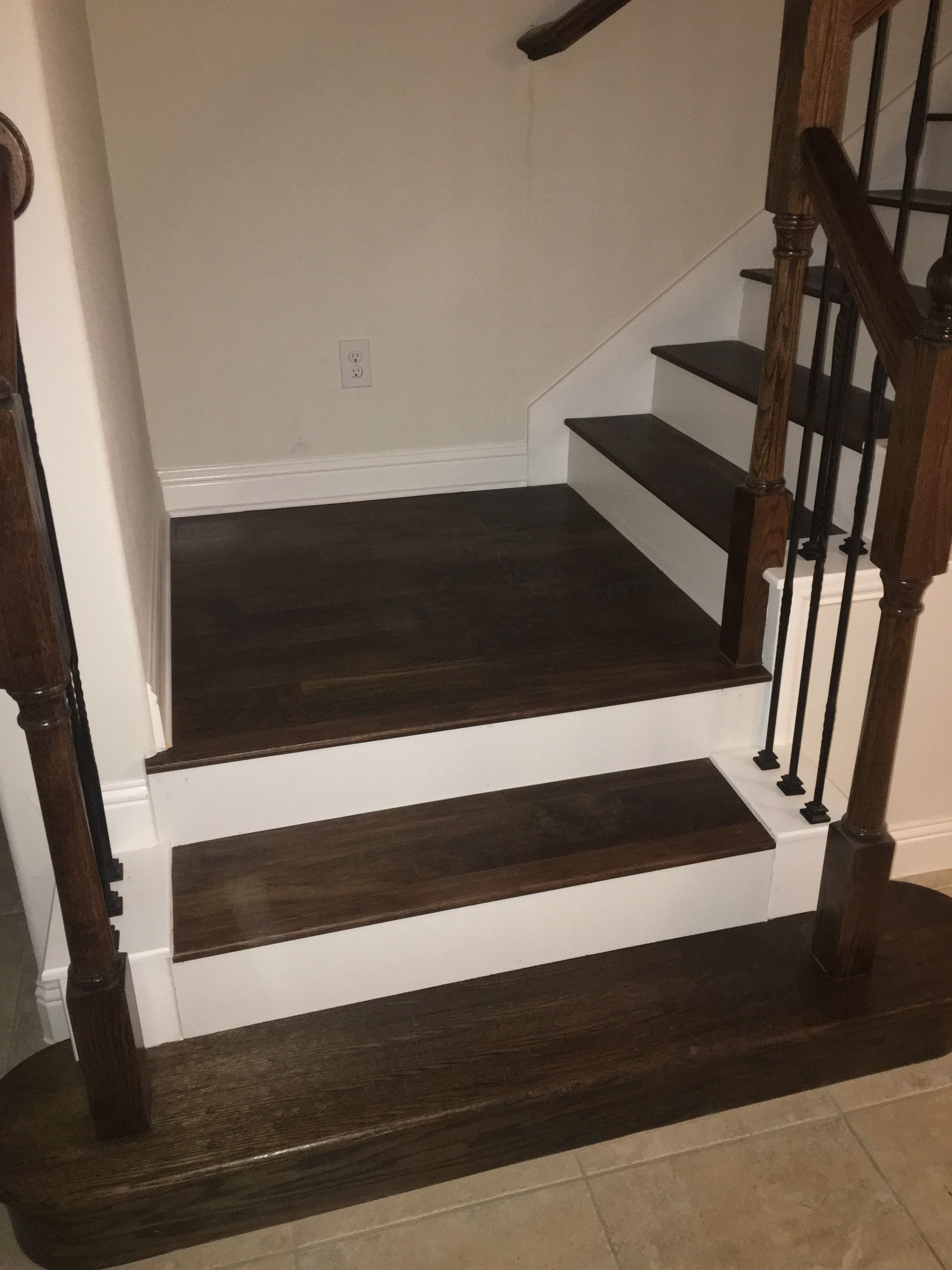 Pin By Draper Floors On Stairs White Stair Risers Hardwood | Hardwood Stairs With White Risers | Pine | Tread | Trim | Hardwood Flooring | Before And After