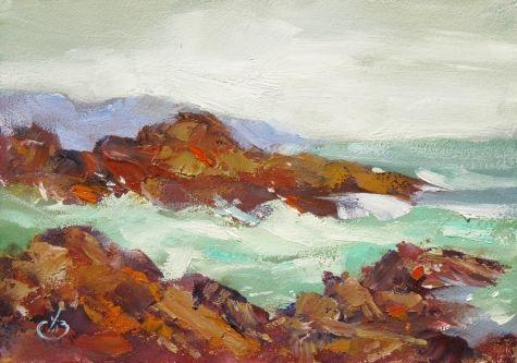 COASTAL PLEIN AIR SEA SCAPE by TOM BROWN, painting by artist Tom Brown