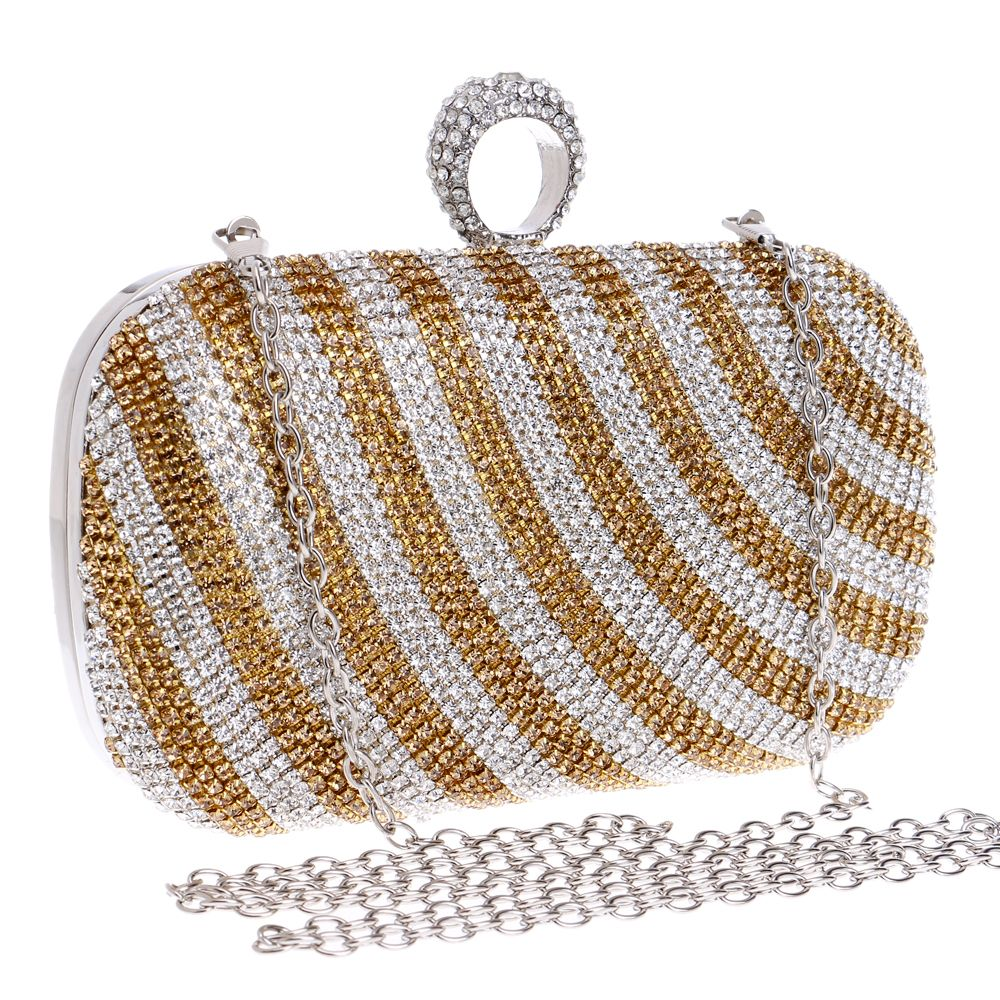 Strip Design One Side Rhinestones Women Evening Bags Finger Ring Diamonds  Purse Small Day Clutches With 311c8952a8bf