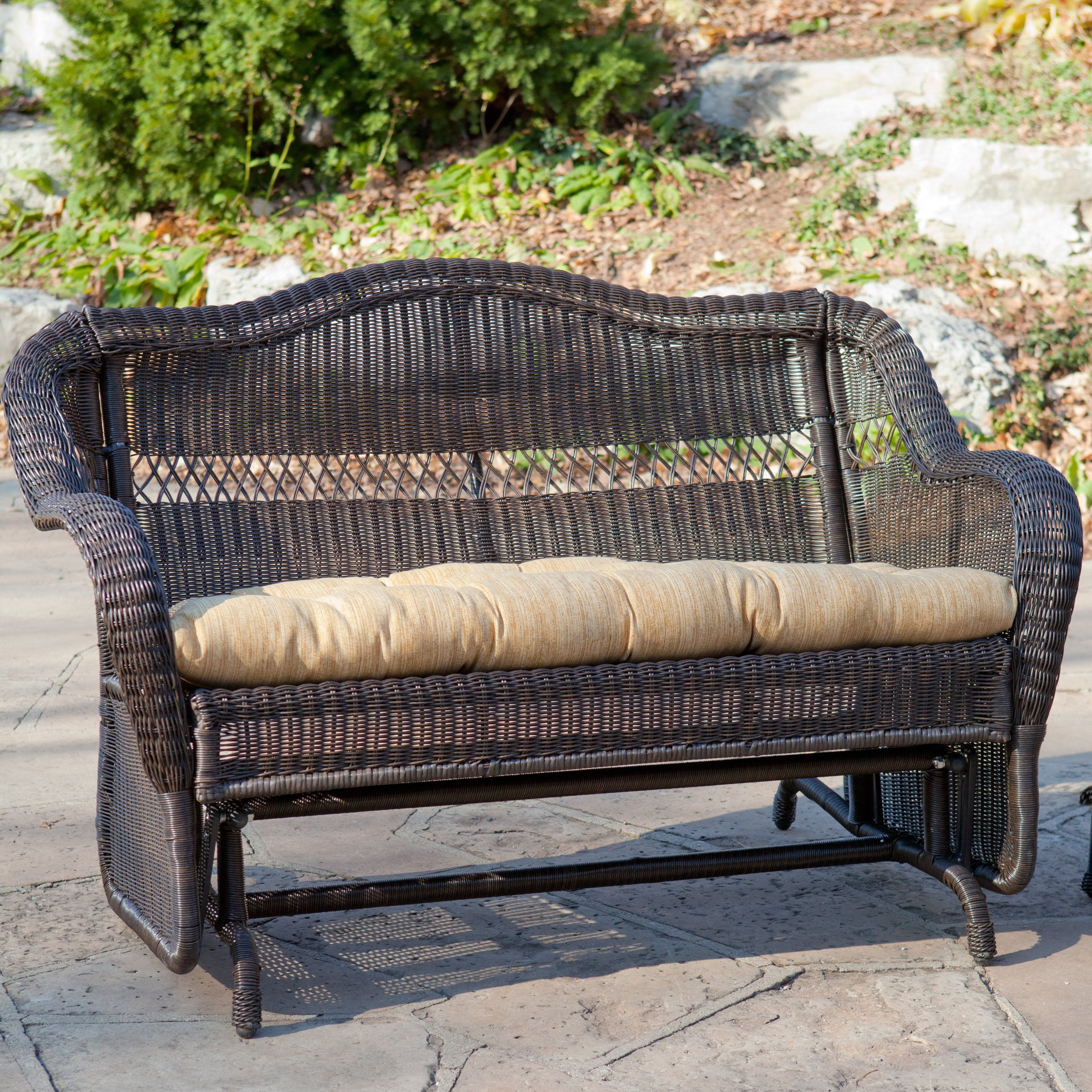 Have To Have It Casco Bay Resin Wicker Double Glider With Optional Cushion Espresso 349 98 Outdoor Glider Outdoor Cushions Outdoor