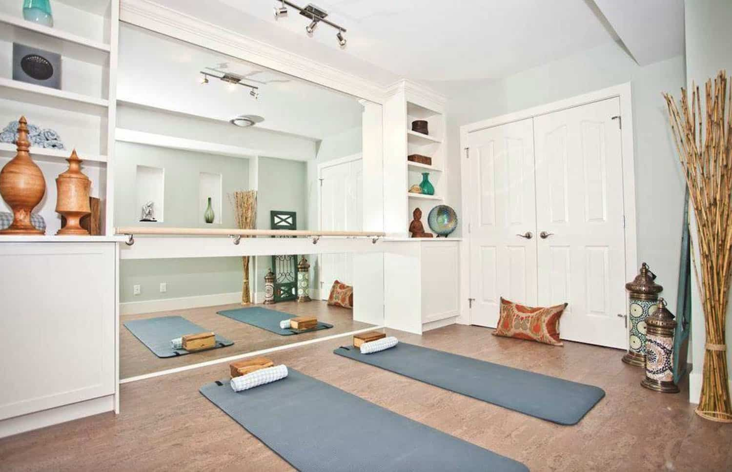 15 Amazing Home Yoga Studio Ideas For Relaxation And Meditation In 2020 Yoga Room Design Home Gym Flooring Yoga Studio Home