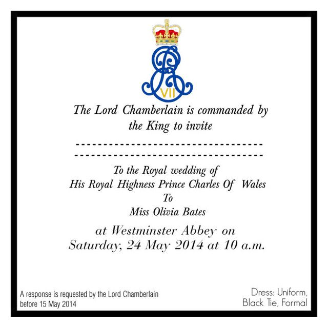 """Welsh Wedding Invitations: """"Official Wedding Invitation For The Wedding Of HRH Prince"""