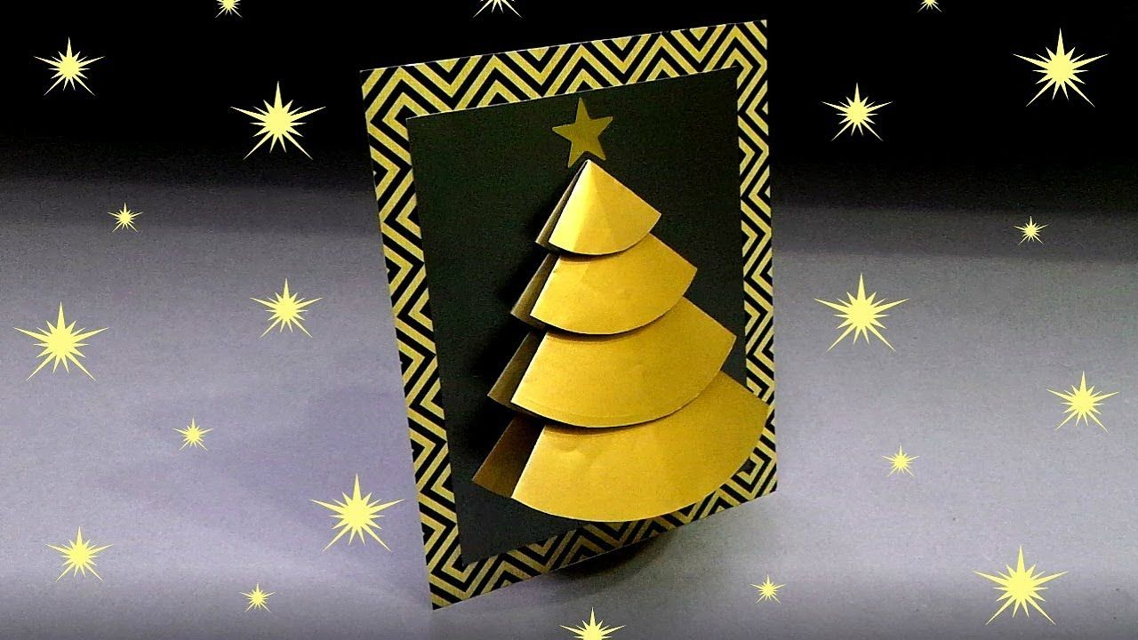 Diy 3d Christmas Tree Card Very Easy How To Make Handmade Christmas Card Maki Diy 3d Christmas Tree Card Christmas Cards To Make Christmas Cards Handmade